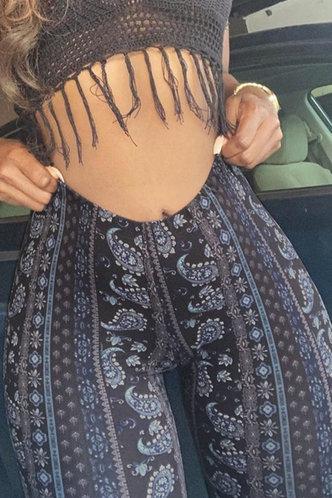 front_Marcella Erica Black Paisley Print Flare Pants