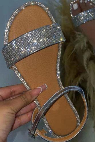 front_Cherry Haska Silver Slide Sandals