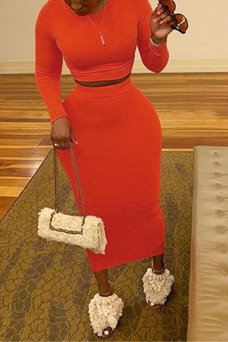 back_Long Sleeve Elastic Band Pullover Orange Skirt Sets