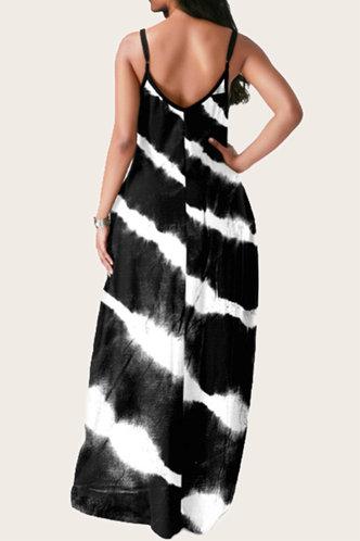 back_Nettie Elva Black And White Plus  Dress