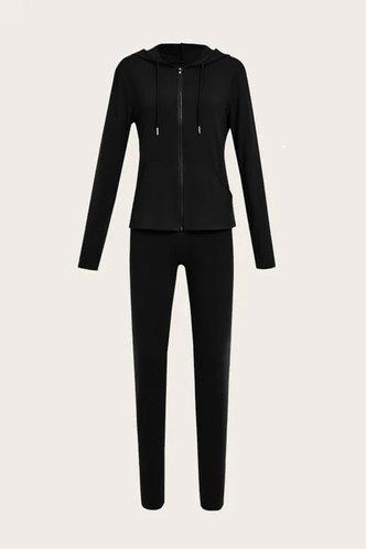 back_Plain Shirred Zipper Up Black Pants Sets