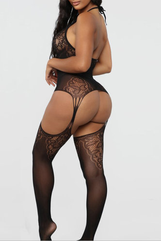 back_Hollow Out Lace Black Sexy Lingerie