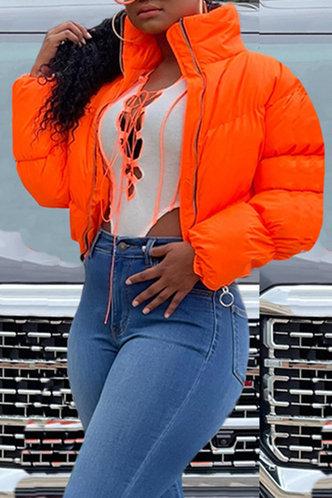 front_Sporty Stand Collar Plain Pocket Orange Outerwear