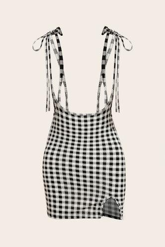 front_Udo Grey Plaid Split Hem Overall Dress
