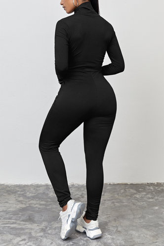 back_High Neck Black Jumpsuits