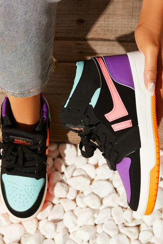 front_Colorblock   Flat Round Toe Multicolor Sneakers