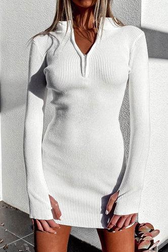 back_Maegan White Ribbed Dress