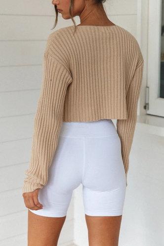 back_Tanya Khaki Chunky Knit Sweater