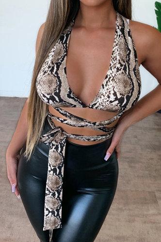 front_Elsa Pilk Snakeskin Print Tie Front Crop Top