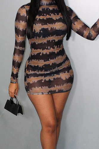 front_Cheryl Elvira Black And Brown Bodycon Dress