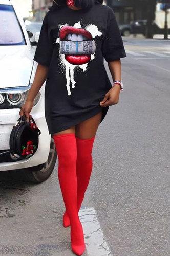 front_Marianne Elizabeth Black Plus T-Dress