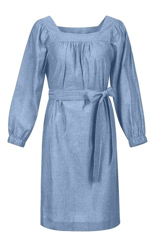 back_We Go Together Blue Chambray Mini Dress